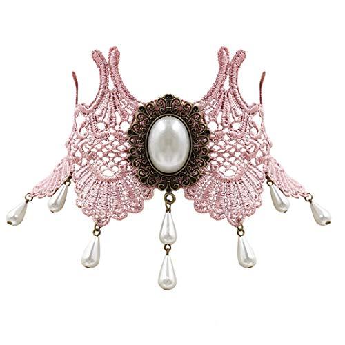 Eternity J. Vintage Princess Lolita Lace Victorian Necklace Edwardian Vampire Gothic Choker Pendant (Pink)]()