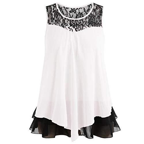 Fashion Womens Lace Ruffles O-Neck Sleeveless Chiffon Tank Tops Blouse Vest Lace Round Neck Sleeveless Chiffon Vest White XXL