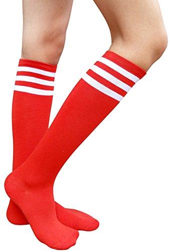 (AM Landen Women's Casual Red Three White Stripes Knee High Socks Girls)