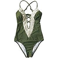 Joy & Bella Solid Lace Crochet Deep V cuello una pieza traje de baño con espalda recorte Bikini Conjunto de trajes de baño Monokini, Verde oliva