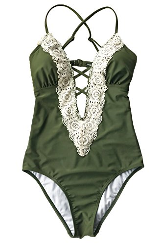 Joy&Bella Solid Lace Crochet Deep V neck One Piece Swimsuit with Back Cutout Bikini Set Swimwear Monokini, Olive Green (L (US 12-14)) (Onepiece Swimsuit Green)