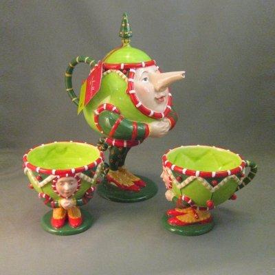Patience Brewster Christmas Krinkles Tea Set Retired - Ornaments