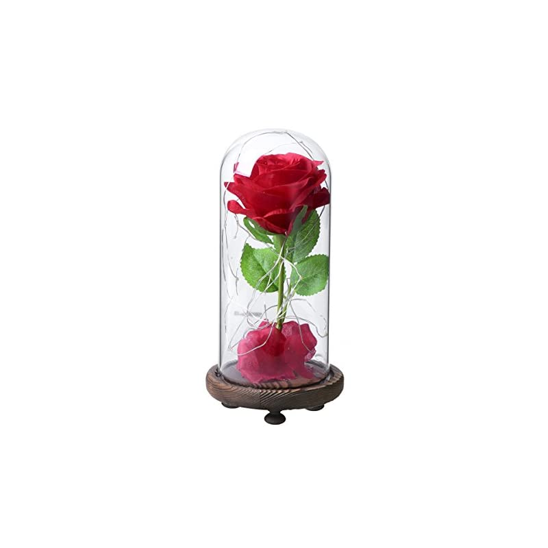 silk flower arrangements red silk rose in glass dome with led light decor beauty and beast rose for her for valentines anniversary birthday