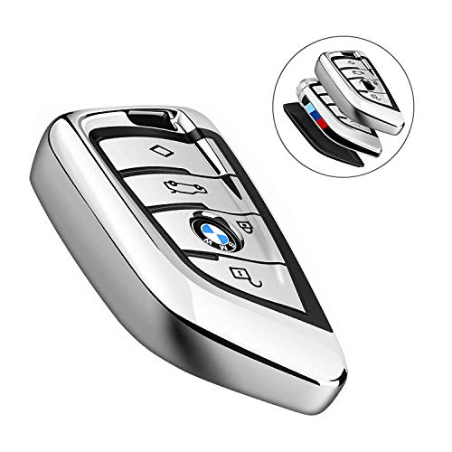 - Smof for BMW Key Fob Cover,Full Protection Soft TPU Anti-dust Key Fob Case Compatible with BMW X1 X3 X5 X6 and 5 Series 2018 7 Series 2017 up 2 Series and 6 Series (GT) Keyless Entry (Silver)