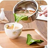 Tebatu Silicone Drain Pans, Anti-Spill Round Rim Deflector Liquid Diversion Mouth for Pots and Pans
