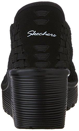 material Mujer sintético Noir Parallel de abiertas Skechers Sandalias wxIBgq4pU