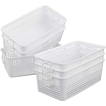 Amazon.com: Eagrye 6-Pack Plastic Small Storage Baskets with Handles, White: Home & Kitchen