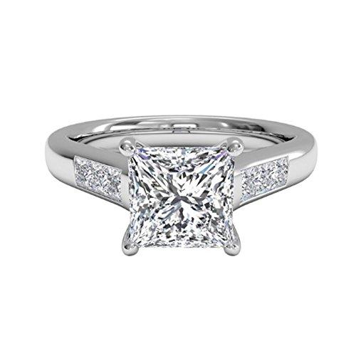 1.25 Ct Moissanite Diamond Engagement Ring 925 Sterling Silver White Gold...