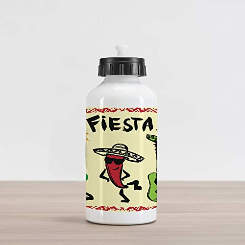 - Ambesonne Fiesta Aluminum Water Bottle, Festive Mexican Party with Maracas Dancing Red Pepper Wearing a Sombrero and Guitar, Aluminum Insulated Spill-Proof Travel Sports Water Bottle, Multicolor