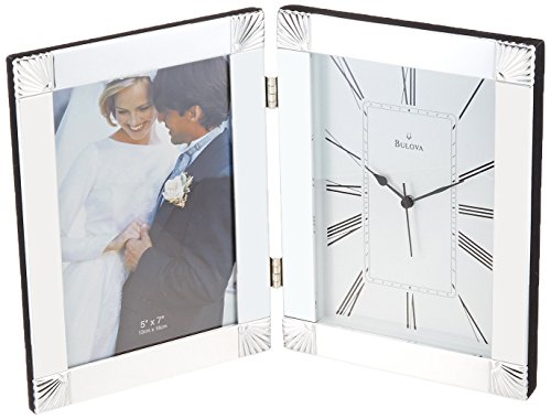 Bulova B1254 Ceremonial Picture Frame Clock, Silver