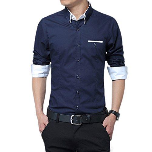 WSLCN Homme chemise classique Commercial Manches longues Ajustée Non repassage Bleu foncé Fr XXXL