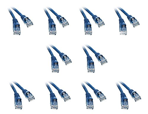 10 pack, CAT5E Blue Hi-Speed LAN Ethernet Patch Cable, Snagless/Molded Boot, 5 Feet, CNE474859 by C&E