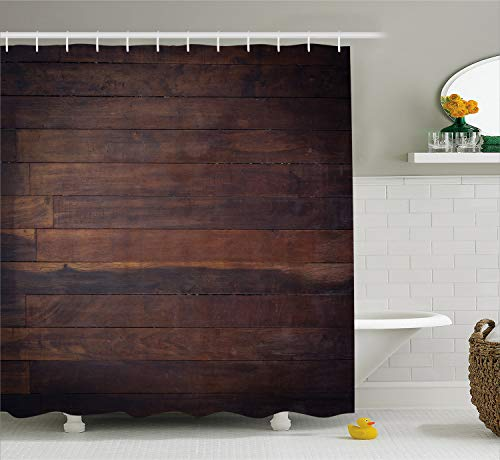 Ambesonne Chocolate Shower Curtain, Aged Weathered Dark Timber Oak Wooden Planks Floor Image Country Life Carpentry, Cloth Fabric Bathroom Decor Set with Hooks, 75