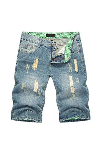 Los Hombres Denim Jeans Short Distressed Hoyos Pantalones Luz Lavada Azul Claro