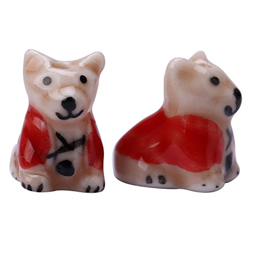 Creative Club 10pcs Doggy Spacer Beads (Red) 15x17mm Top Quality Hand Crafted Ceramic Beads -