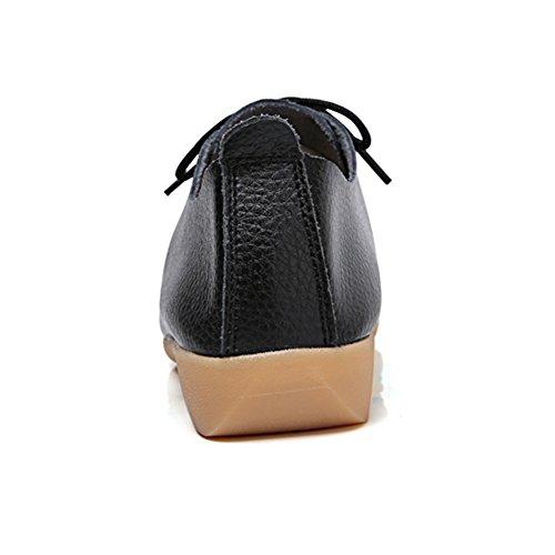 Temofon Mocassini In Pelle Da Donna Mocassini Guida Scarpe Casual Pantofola Piatta Slip-on Nero 4