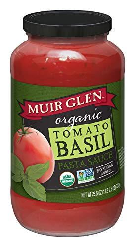 Muir Glen Organic Pasta Sauce, Tomato Basil, No Sugar Added, 25.5 Ounce Glass Jar