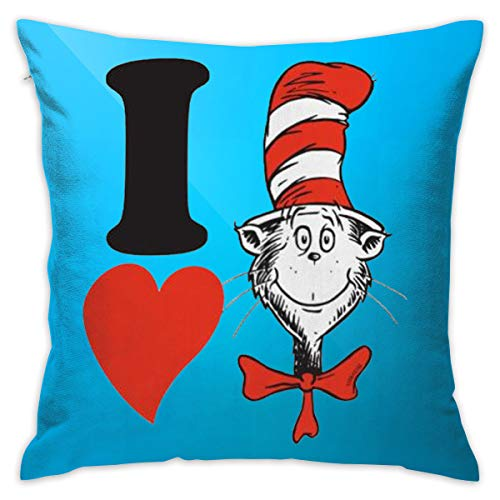 Dr. Seuss Valentine I Heart The Cat in The Hat Throw Pillow Cushion Cover