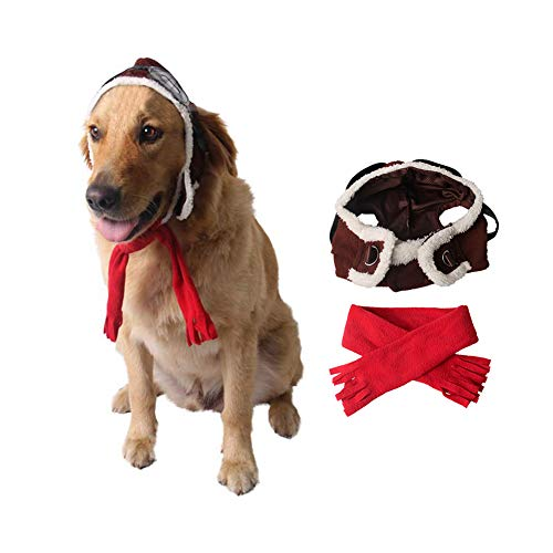 Dog Aviator Hat (Dog Pilot Costume Halloween Pet Aviator Hat with Goggles and Scarf Cosplay)