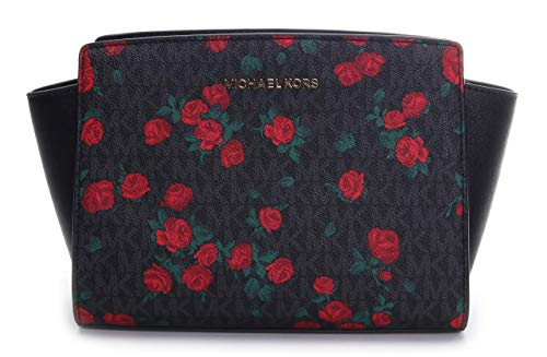 Michael Kors Women's Selma Md Messenger Crossbody Bag No Size (Black/Red)
