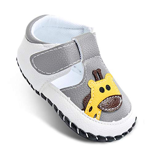 Sole Velcro - cbony Baby Shoes Soft Leather Sandals for Infant Lovely Toddler Boy Moccasins First Walking Shoes Size 6 M Grey