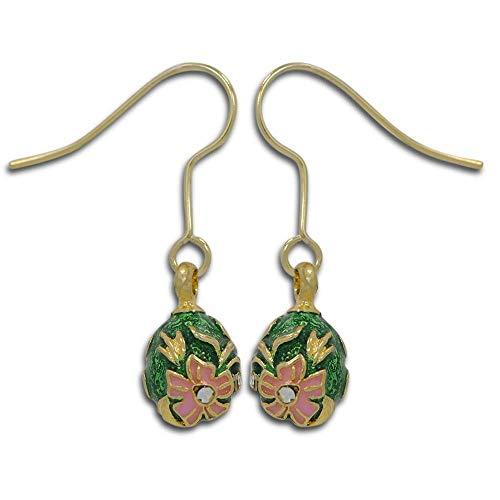 Green and Pink Enameled Flowers Egg Earrings ()