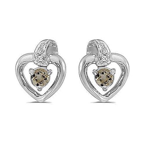 14kt White Gold Round Smokey Quartz Heart Shape Diamond Earrings - Heart Smokey Quartz Earring