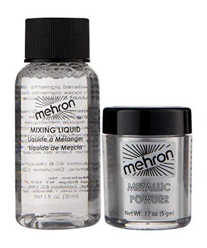 - Mehron Makeup Metallic Powder (.17 oz) with Mixing Liquid (1 oz) (Silver).