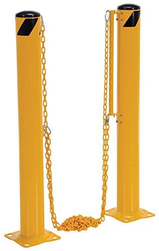 Vestil DCBB-42-4.5 Dock Chain Barrier Bollard, 4.5'' Diameter, 146.25'' Length, Yellow by Vestil