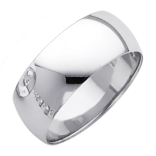 14k White Or Yellow Gold 8mm Plain Wedding Band