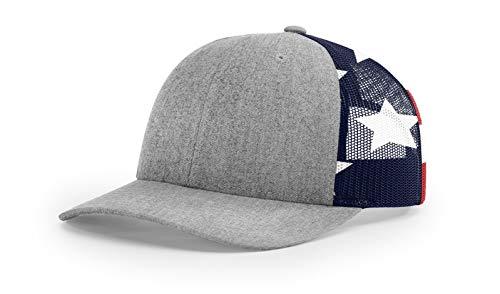 - Running Partner Richardson 112 112P Trucker Mesh Snapback Hat Curved Bill with NoSweat Hat Liner (Adjustable Snapback 112PM Split, Split Heather Grey/Stars & Stripes)