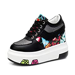 """Unique & Comfort Design Womens Increased Height Wedge Platform Sneakers Hidden Heel Walking Sport Shoes Please kindly compare below Size Chart with you feet length before ordering.Size Chart: 4 M US = EU35 = 8.66""""-8.86"""" 5 M US= EU36 = 8.8..."""