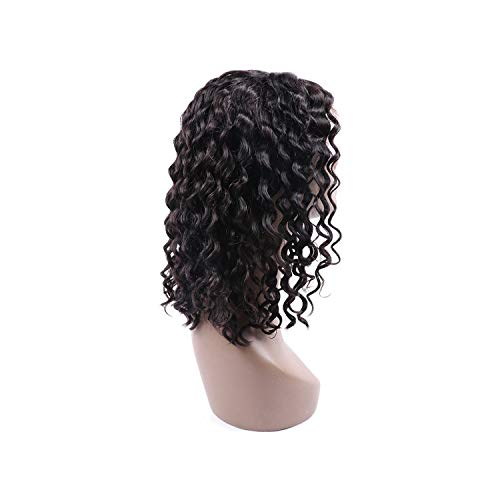 Wigs Human Hair Short Bob Wigs For Black Women Water Wave Hair Wig With Baby Hair Remy Human Hair 4X13 Lace Front Wigs,Natural ()