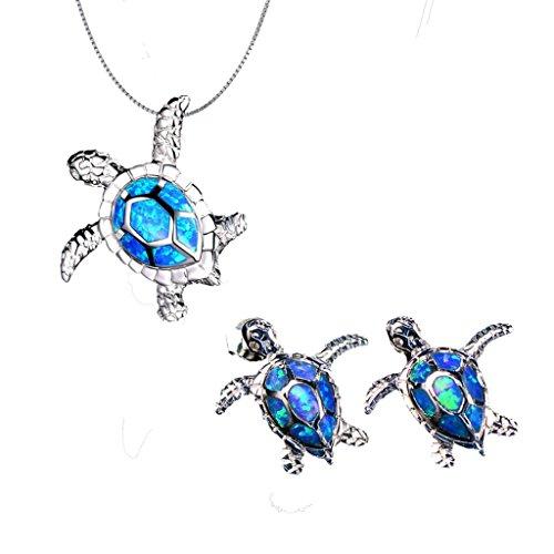 Hermosa 925 Sterling Silver Sea Turtle Blue Opal Women Pendant Earrings (Jewelry Sets) (Opal Inlay Silver Pendant Jewelry)