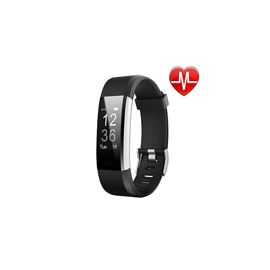 LETSCOM Fitness Tracker HR, Activity Tracker Watch with Heart Rate Monitor, Waterproof Smart Fitness Band with Step Counter, Calorie Counter, Pedometer Watch for Kids Women and Men, Android iOS
