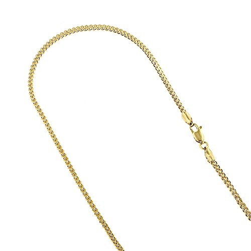 Luxurman 14k Yellow Gold Solid Franco Chain 2mm Wide Necklace with Lobster Clasp 24 inches (18k Gold Franco Chain)