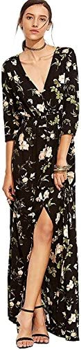 Milumia Women`s Button Up Split Floral Print Flowy Party Maxi Dress