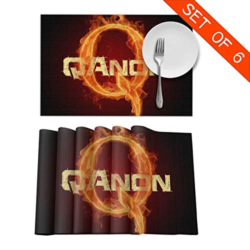 DerdYoaa QAnon are You Paying Attention Placemats Set of 6 for Dining Table Washable Placemat Non-Slip Kitchen Table Mats 12