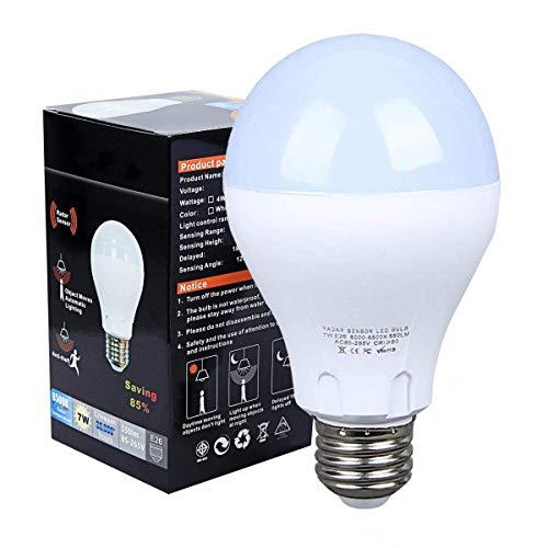 Motion Sensor Light Bulb, 7W Radar Sensing Dusk to Dawn Led Smart Bulb, E26 Base White 6500K 550LM Indoor Sensor Night Lights, Outdoor Motion Sensor Light Bulb Auto On/Off