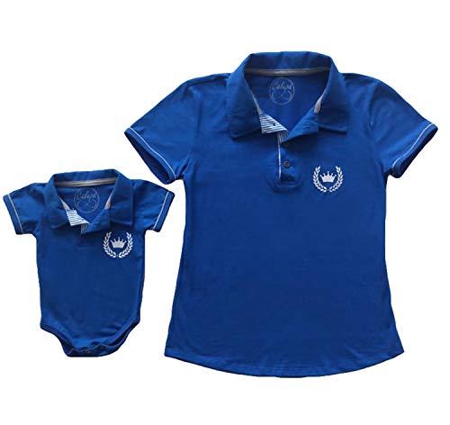 Polo Adulta Feminina E Body De Bebê Polo Tal Mãe Tal Filho (Adulto P - Body G, Azul Royal)
