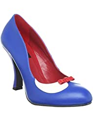 Summitfashions Womens Two Tone Shoes Red White Blue Pumps Peter Pan Bow Collar 4 inch Heels