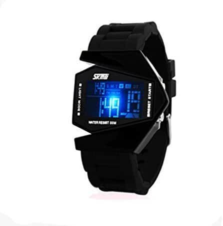 Auspicious beginning® LED Personalized creative waterproof noctilucent airplane black digital watch Size S