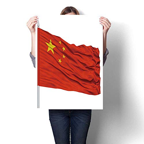 Canvas Wall Art China Flag on flagpole Fly in The Wind Isolated on White Background Oils,12