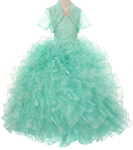 Pageant Sparkling Ruffle Wedding Prom Flowers Girl Dress ...