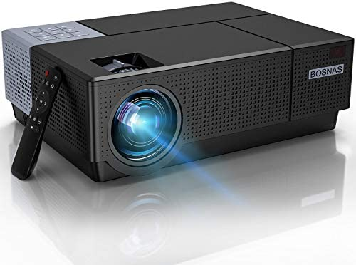 BOSNAS B7 HD Home Projector Support 4K Movie, Native 1920×1080P Video Projector 7500 LUX LED Projector Home Theater&Outdoor Backyard Proyector 4D Keystone Correction Compatible with Phone,PC,TV Box