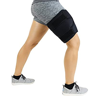 Thigh Brace by Vive - Hamstring Wrap Compression Sleeve Trimmer - Support for Pulled Hamstring Muscle, Sprains, Quadriceps, Tendinitis, Workout, Cellulite, Sports Injury, Recovery