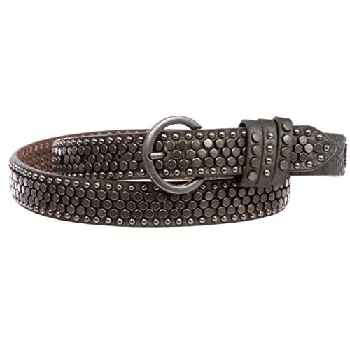 Women's Riveted Nail Heads Round Circle Studded Skinny Leather Jean Belt, Pewter | S/M-32