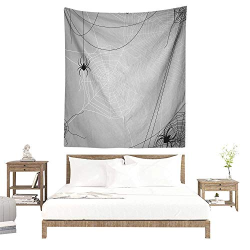 (Meikxf Spider Web Wall Tapestry Spiders Hanging from Webs Halloween Inspired Design Dangerous Cartoon Icon Literary Small Fresh 60W x 91L INCH Grey Black)