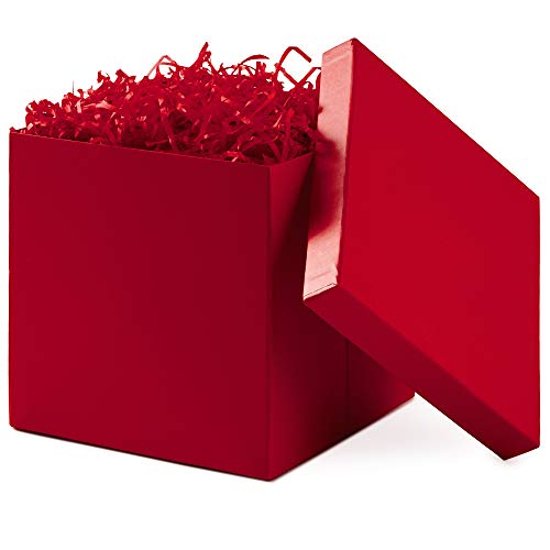 Hallmark 7quot Large Gift Box with Lid for Birthdays Bridal Showers Weddings Baby Showers and More Red