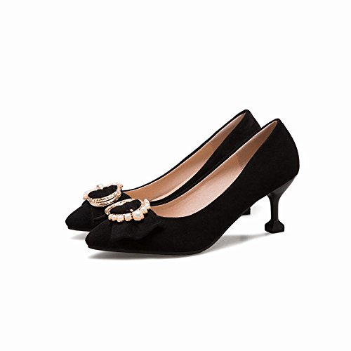 Mee Shoes Women's Charm Mid Heel Bow Upper Court Shoes Black 1XNYlV